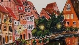 Картина акварелью, городской пейзаж Вечер в Эльзасе 32 х 24