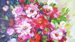 Картина маслом цветы ′Очарование лета′, 30 х 40