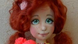 Кукла авторская с объемным личиком Мамино счастье