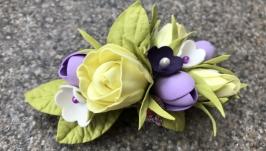 Заколочка для волос ′Лимонные розы′