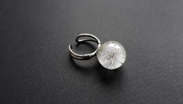 Серебряное кольцо с одуванчиком