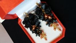 Серьги-гроздья Черная роза