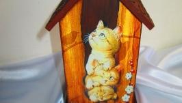 Чайный домик (домик для чайных пакетиков) ′Котята-непоседы′