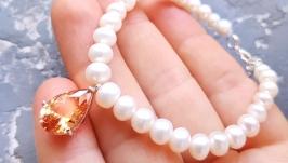 Браслет з натуральних перлів з підвіскою крапля ′ Топаз ′