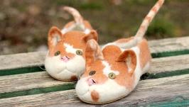 Валяные тапки Пятнистые коты. Кототапки