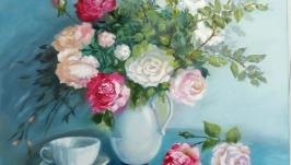 Картина маслом ′Натюрморт с розами′ цветы 50 х 40