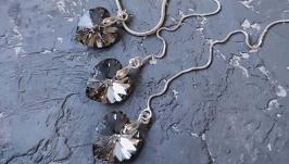 Колір на вибір! Срібний комплект сережки кулон на ланцюжку з серцем