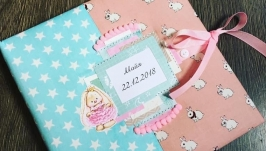Яркий розово-бирюзовй альбом для фото для девочки