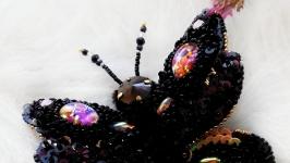 Вышитая 3d брошь бабочка ′Black night′