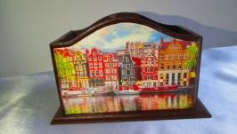 Настольная карандашница ′Амстердам′, органайзер, короб, подставка для ручек