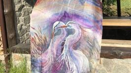 Большой шелковый символический палантин - талисман ′Сезон хризантем′ 193*90
