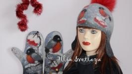 Комплект валяный шапка и варежки Снегири на ветках рябины