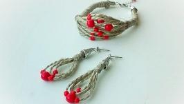 Комплект украшений в этно стиле - браслет и серьги из льняной нити и красны