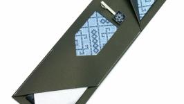 Вишита краватка з зажимом Синє Тріо