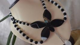 Колье из черных агатов  ′Ночная орхидея′