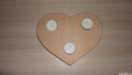 Подсвечник деревянный Сердце на 3 свечи