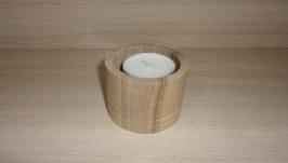 Подсвечник деревянный для ширикой свечи