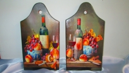 Разделочная доска (малая) ′Голландский натюрморт′,для кухни,дощечка,досочка