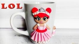 Чашка для девочки с куклой LOL из полимерной глины