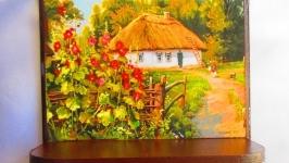Панно- ключница с полочкой ′Украинская хата′