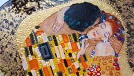 ′Поцелуй′ Климта, стеклянное интерьерное сердечко на стену, ручная роспись