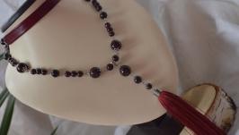 Колье - сотуар с кистью с гранатом ′Бордо′