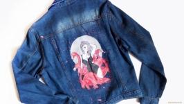 Модная джинсовая куртка с ручной росписью «Розовый фламинго»