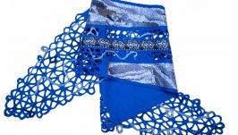 Синий женский шарф из шерсти мериноса