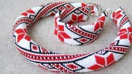Комплект жгут браслет из бисера ′Славянские мотивы′