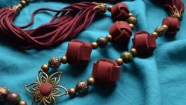 Кожаное колье ′Furmani′ цвета Марсала с кисточкой в стиле Бохо-шик