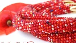 Комплект жгут браслет ′Алый маковый микс′