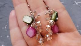 Сережки з натуральним перламутром та кристалами