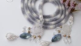 Лариат ′Дымка′ серебро хрусталь бисер жгут колье