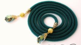 Лариат ′Смарагд′ изумрудный зеленый хрусталь бисер жгут колье
