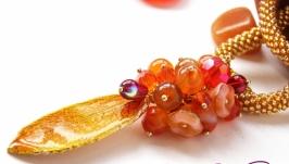 Сотуар жгут кулон ′Осенний каприз′ бисер камни