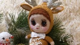 Мягкая игрушка вязаный олень олененок купить игрушку олененка