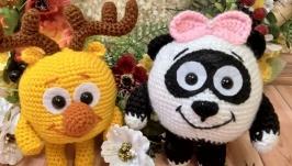 Мягкая игрушка ручной работы вязаный смешарик панда Панди