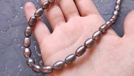 Намисто з натуральних срібно-сірих перлів