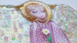 Весенний ангел с цветами, точечная роспись, панно