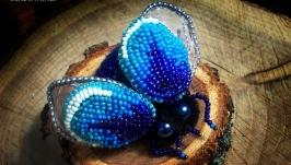 Объемная брошь жук синий вышивка бисером чешски бисер ручная работа
