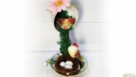 Оригинальный цветочная композиция  Парящая чашка с влюбленными птицами