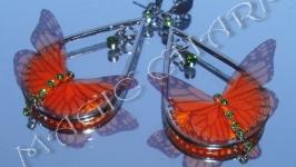 Серьги с оранжевыми бабочками из органзы