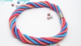 ′Фламинго′ колье жгуты бисер голубой розовый коралловый морской
