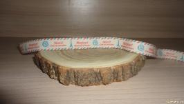 Бирка текстильная - bonjour и merci 1 метр