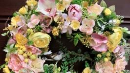 Весенний летний венок на дверь стену стол декор пасхальный венок