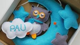 Именной фетровый мобиль Owl on the moon Personalized