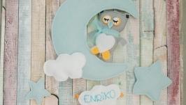 Фетровый мобиль с именем в детскую кроватку Owl on the moon Personalised