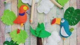 Фетровый мобиль в детскую кроватку OrangeBlue Parrots
