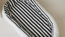 Кокон для ребенка (гнездышко, бебинест) BlackWhite lines