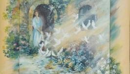 Картина маслом ′Голуби′ в несъемной раме
